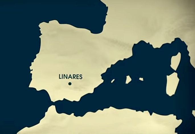 Mapa de la península ibérica donde solo se ve dónde cae Linares